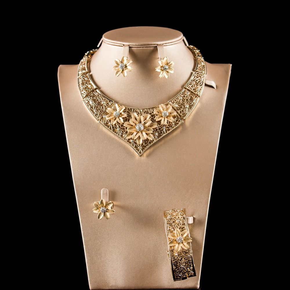 Lan palace costume jewelry gold color ladies crystal jewellery set