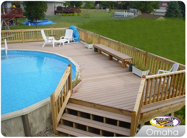 Above ground pool deck with mixed decking materials back for Above ground pool decks nj