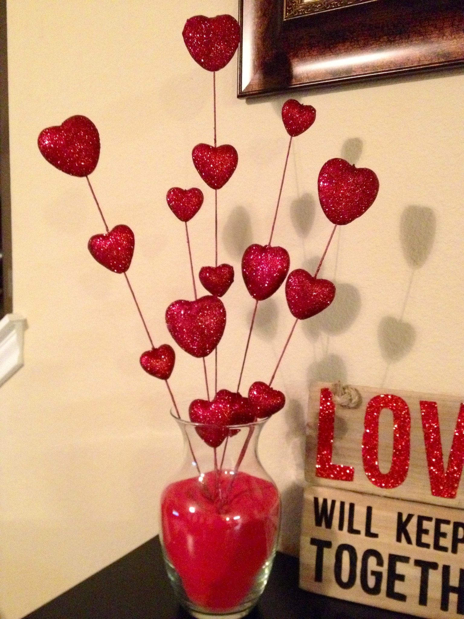 Diy Valentine Decor Glass Vase Filled With Red Sand With Heart Sticks From Hobby Lobby Easy A Diy Valentines Decorations Valentine Decorations Valentines Diy
