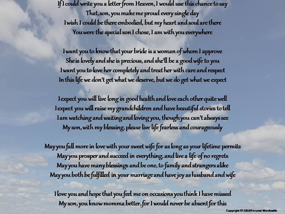 Letter from heaven mother of the groom download deceased
