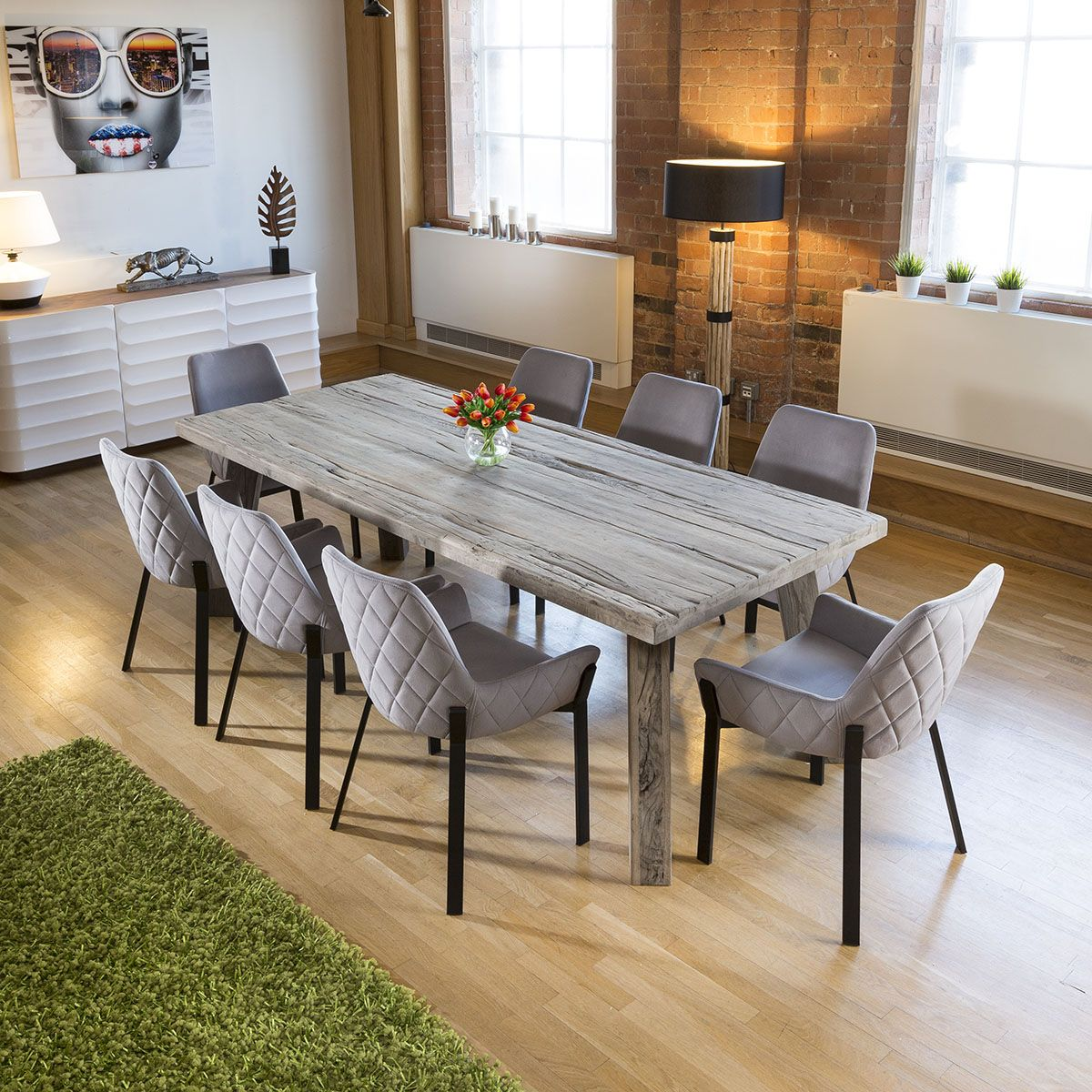 Huge Reclaimed Oak Dining Table 100 Yr Old 8 Light Grey Carver Chair In 2020 Oak Dining Table Upcycled Dining