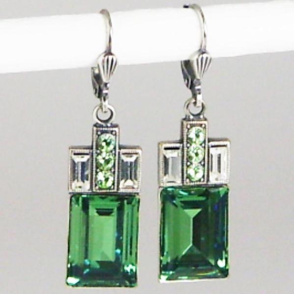 Ohrringe altsilber mit Swarovski Kristall Rechteck - Erinite - grün ...