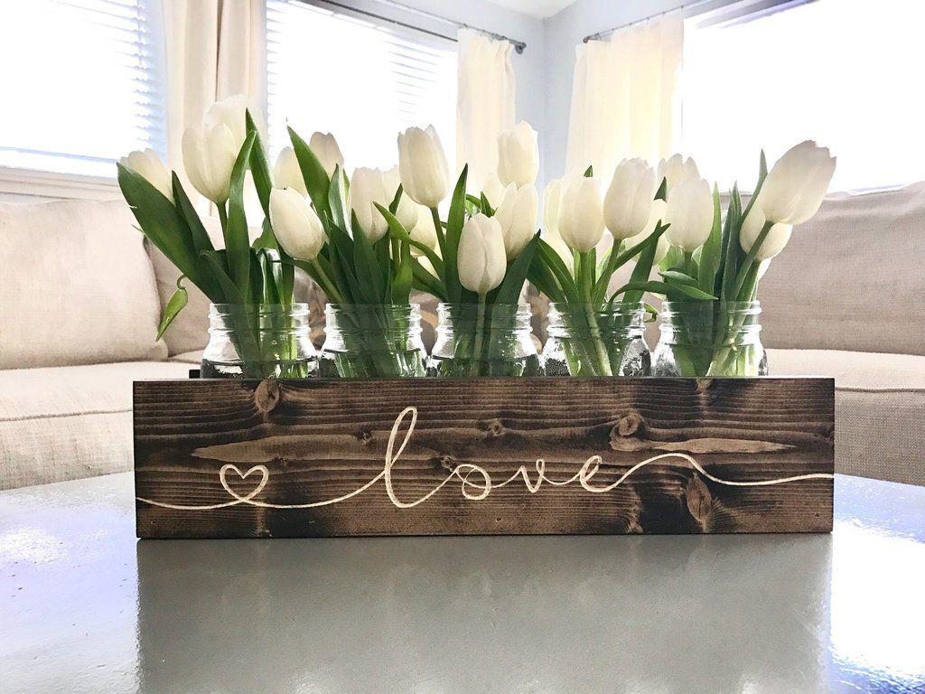 Mason Jar Holder Centerpiece - Classic | Planter box centerpiece, Spring  decor, Wooden box centerpiece