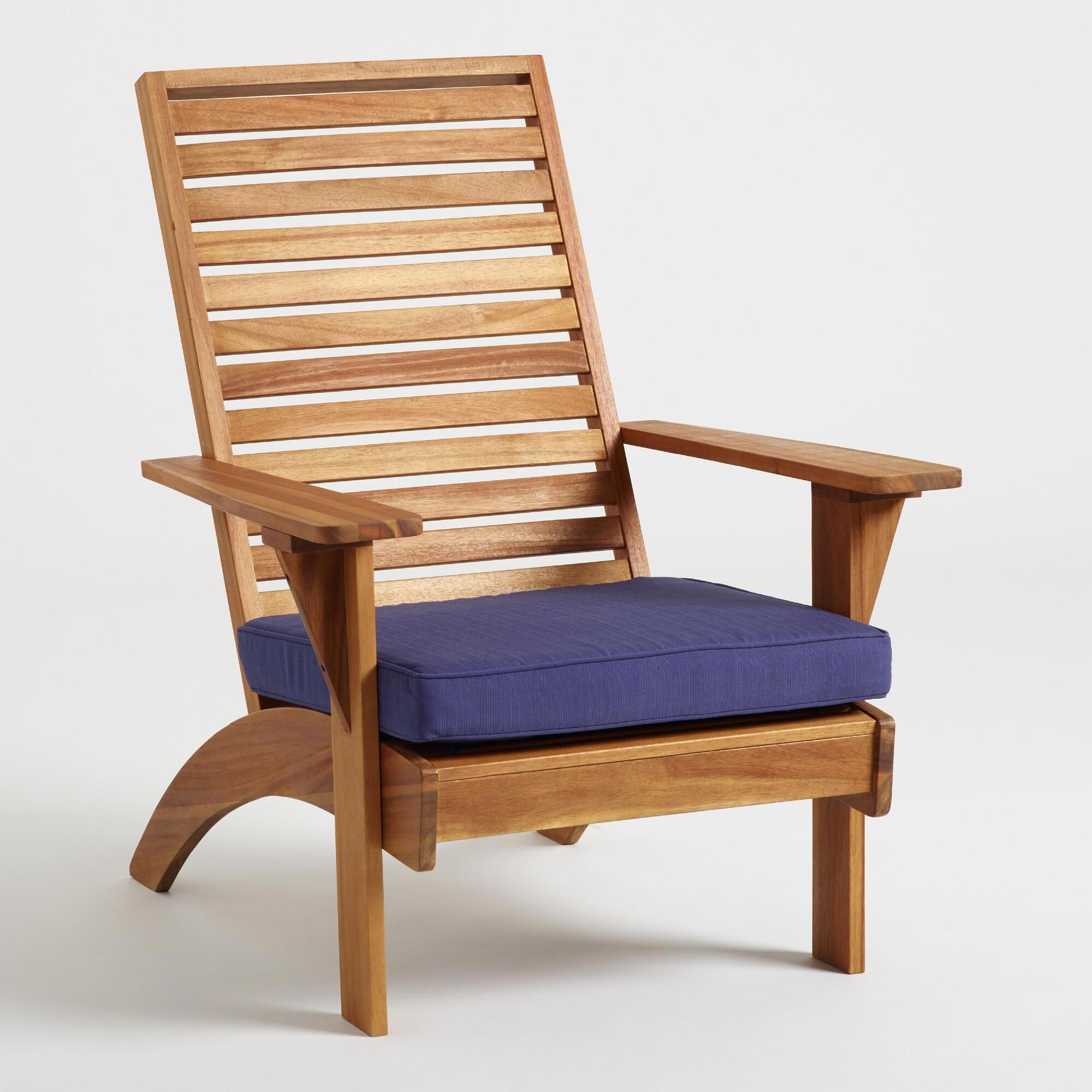 Natural Wood Hyacinth Adirondack Chair with Cushion by