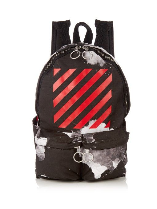 70006411e OFF-WHITE Logo-Print Canvas Backpack. #off-white #bags #lining #canvas  #backpacks #cotton #