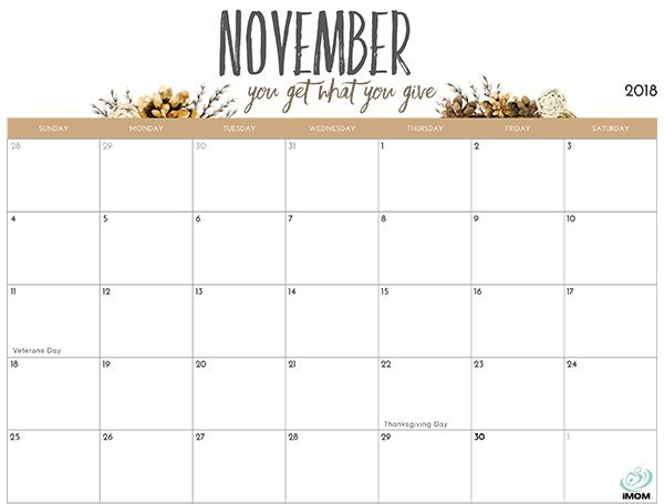 2020 Printable Calendar For Moms November Printable Calendar