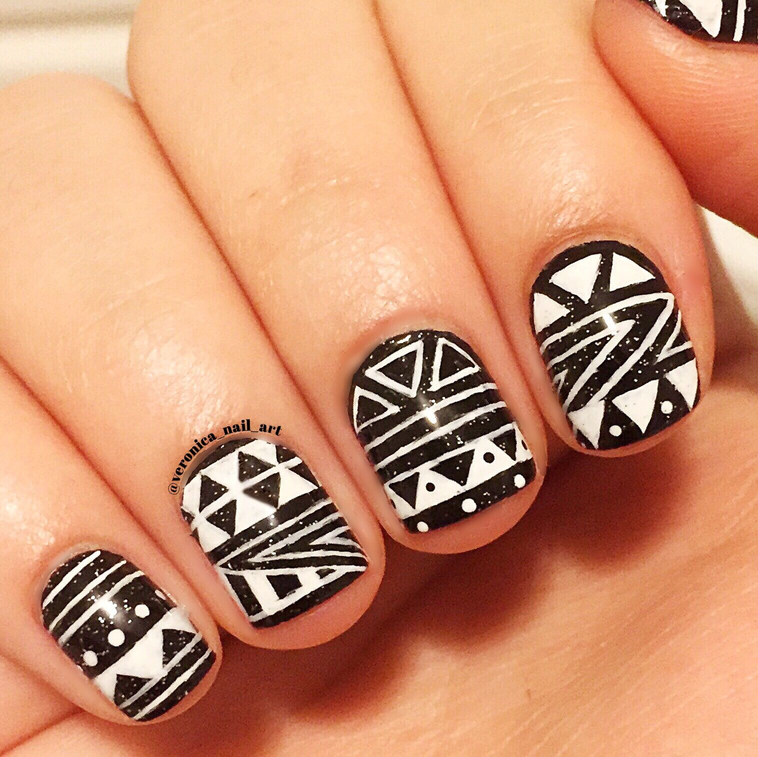Black And White Tribal Nail Art Nail Art Pinterest