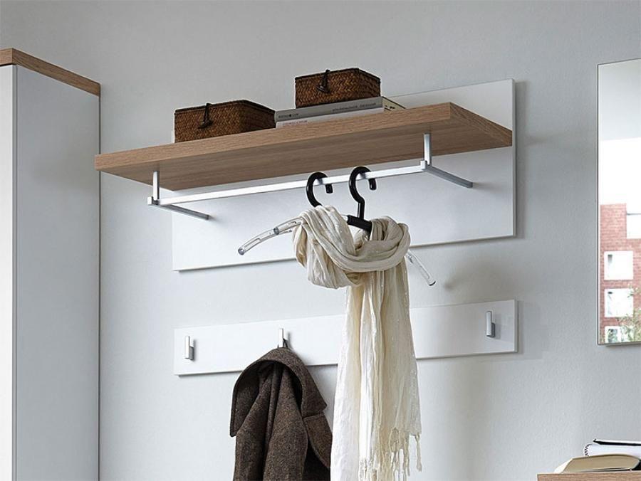 Germania Top Contemporary Coat Rack And Coat Hook In White Or Oak    Contemporary Coat Rack And Coak Hook With Shelves, Rail And Hooks In White  Or Oak Veneer