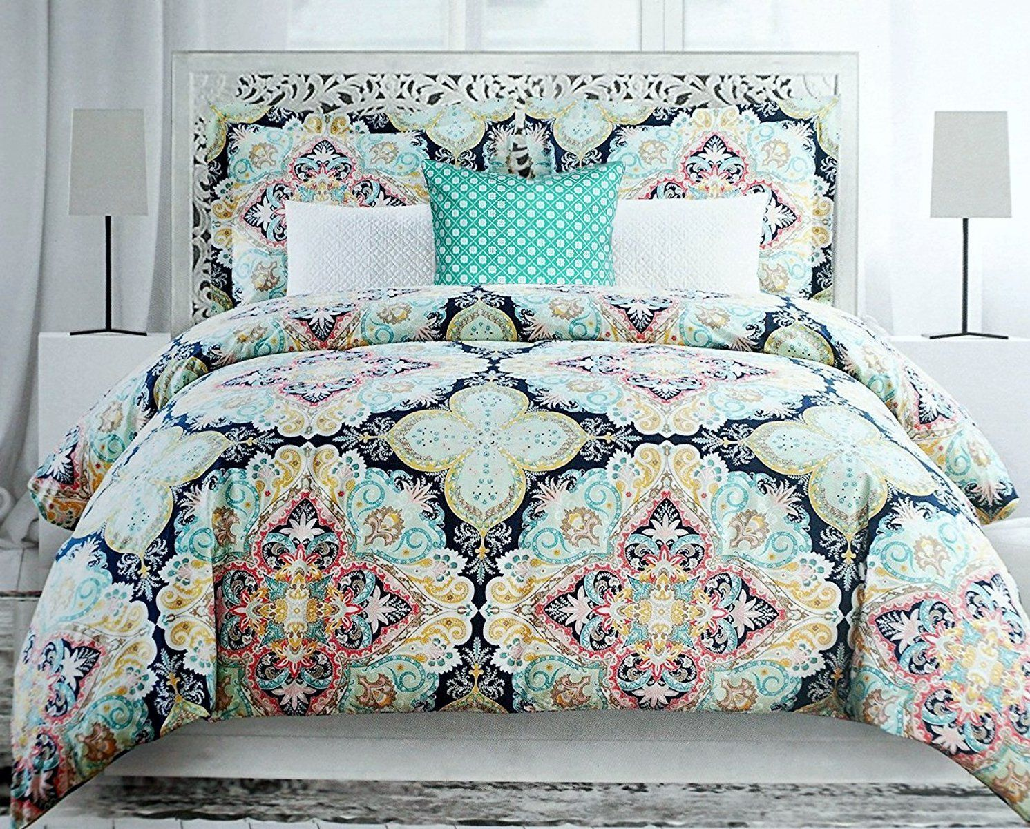 modern dp elegant bedding quilt boho memorecool covers com floral comforter style new home set pieces amazon printed exotic kitchen