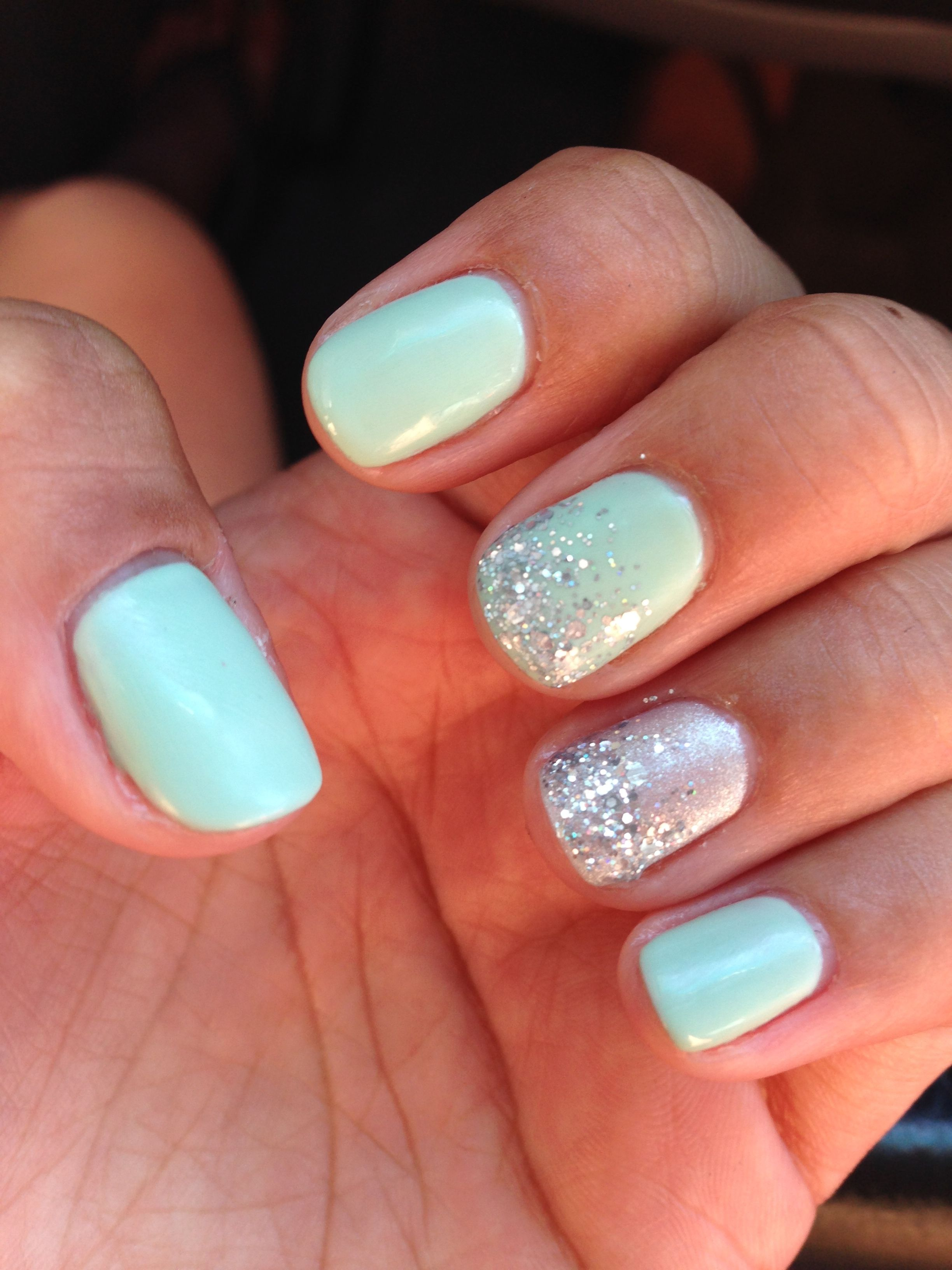 Mint shellac nails with sparkle #nails #teal #sparkle | Getting ...