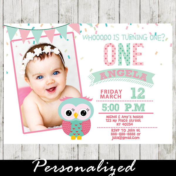 Pink and Mint Green 1st Birthday Owl Invitations Girl Photo