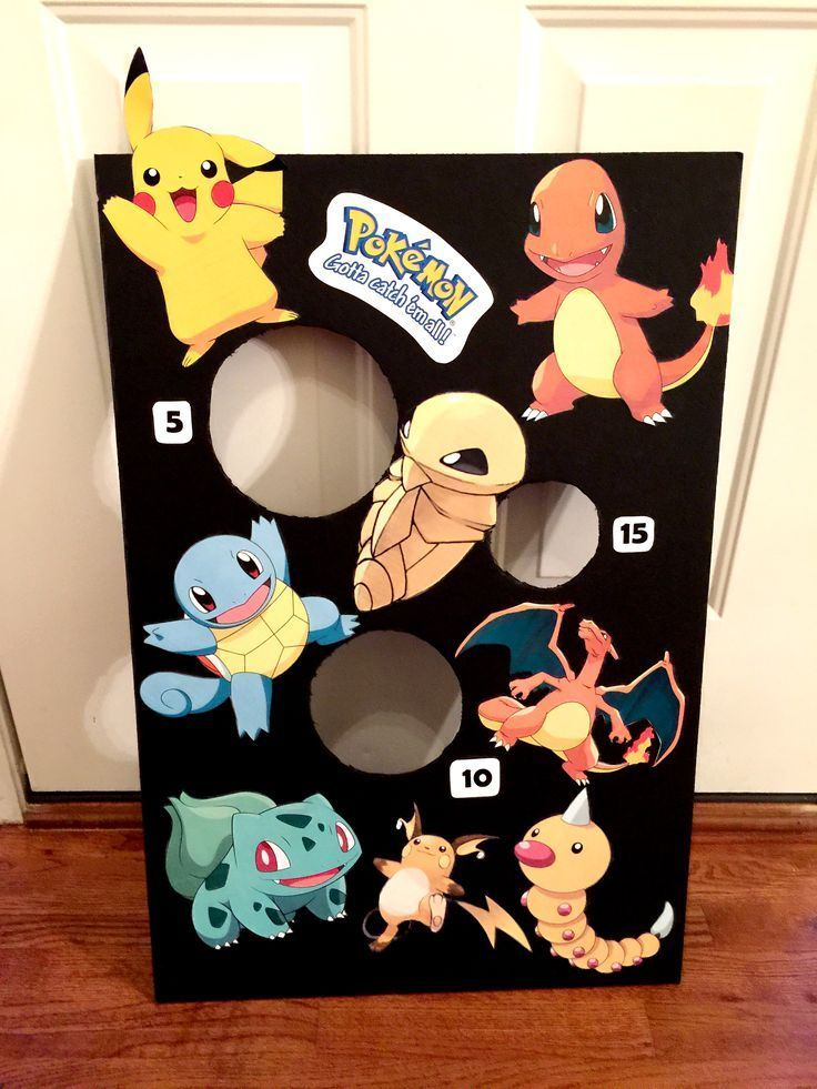 Pokemon bean bag toss — black foam board and Pokemon characters printed out