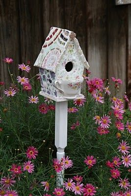 teacup birdhouse- sweet with pink blooms