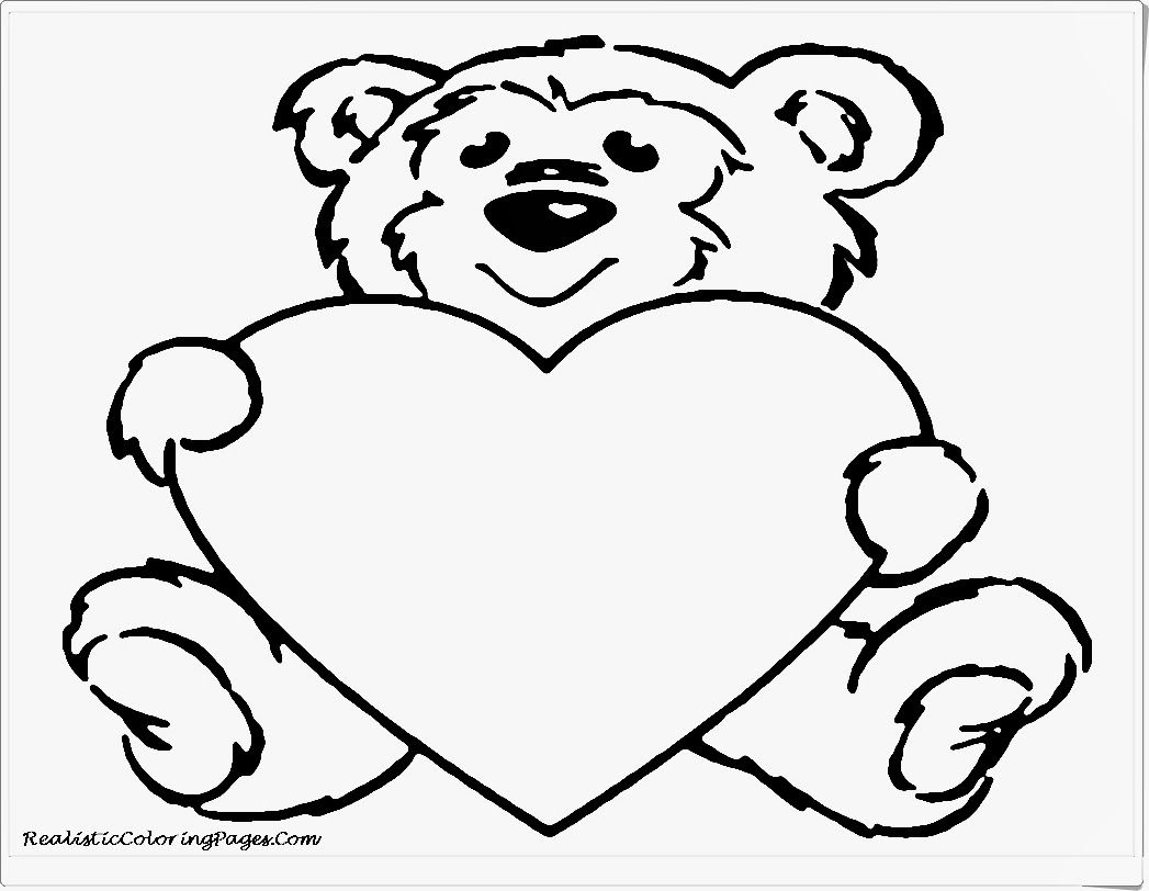 Cute Bear Valentine Animals Coloring Pages | Valentines Coloring ...