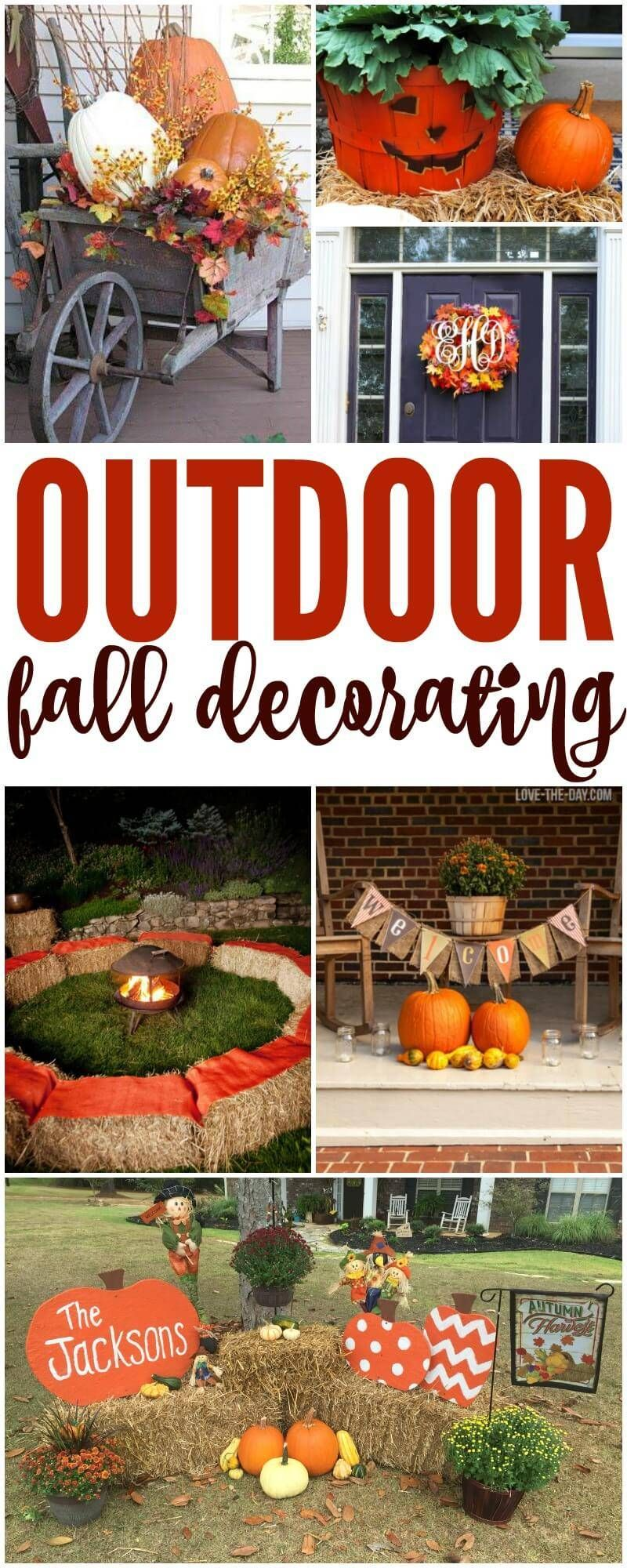 Outdoor Fall Decorations Easy Diy Outside Ideas For Decorating For Thanksgiving Halloween Or Fall Passion4savings Fall Outdoor Decor Fall Outdoor Diy Fall