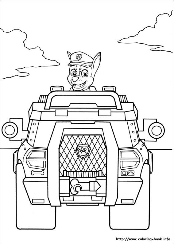 Coloring Pages Of Chase From Paw Patrol : Chase paw patrol coloring pages for
