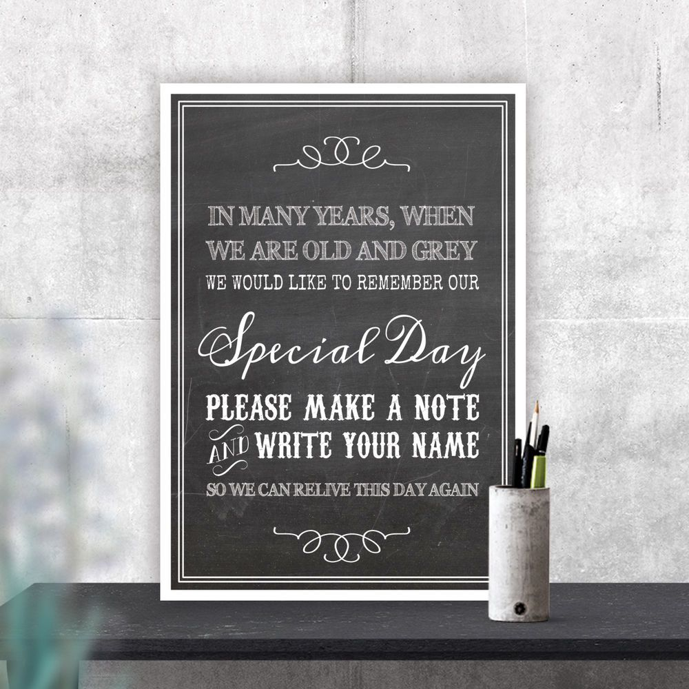 Wedding Photo Book Quotes: Guest Book Poem Special Day Chalkboard Style Wedding Sign