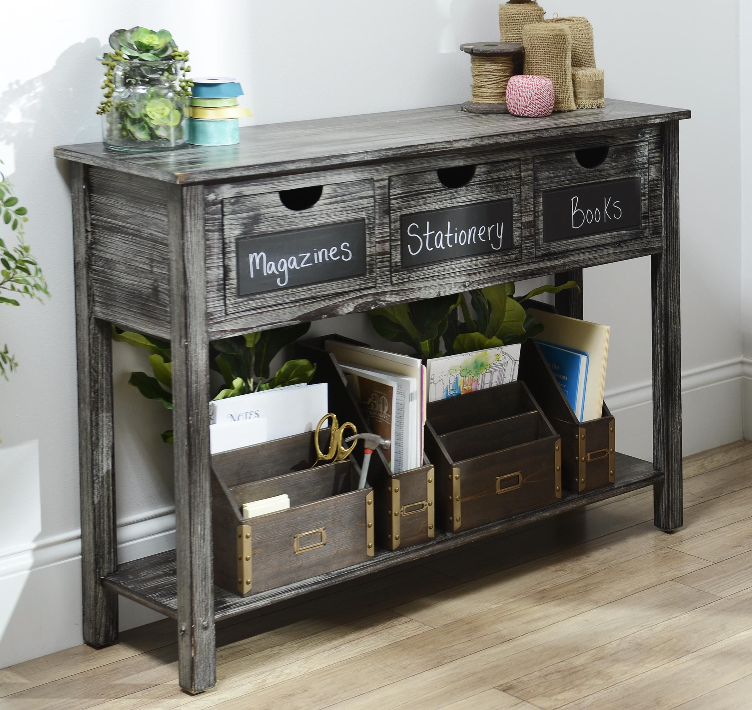 Weathered gray chalkboard console table office playroom console the weathered gray chalkboard console table from kirklands is the perfect for organizing your office geotapseo Choice Image