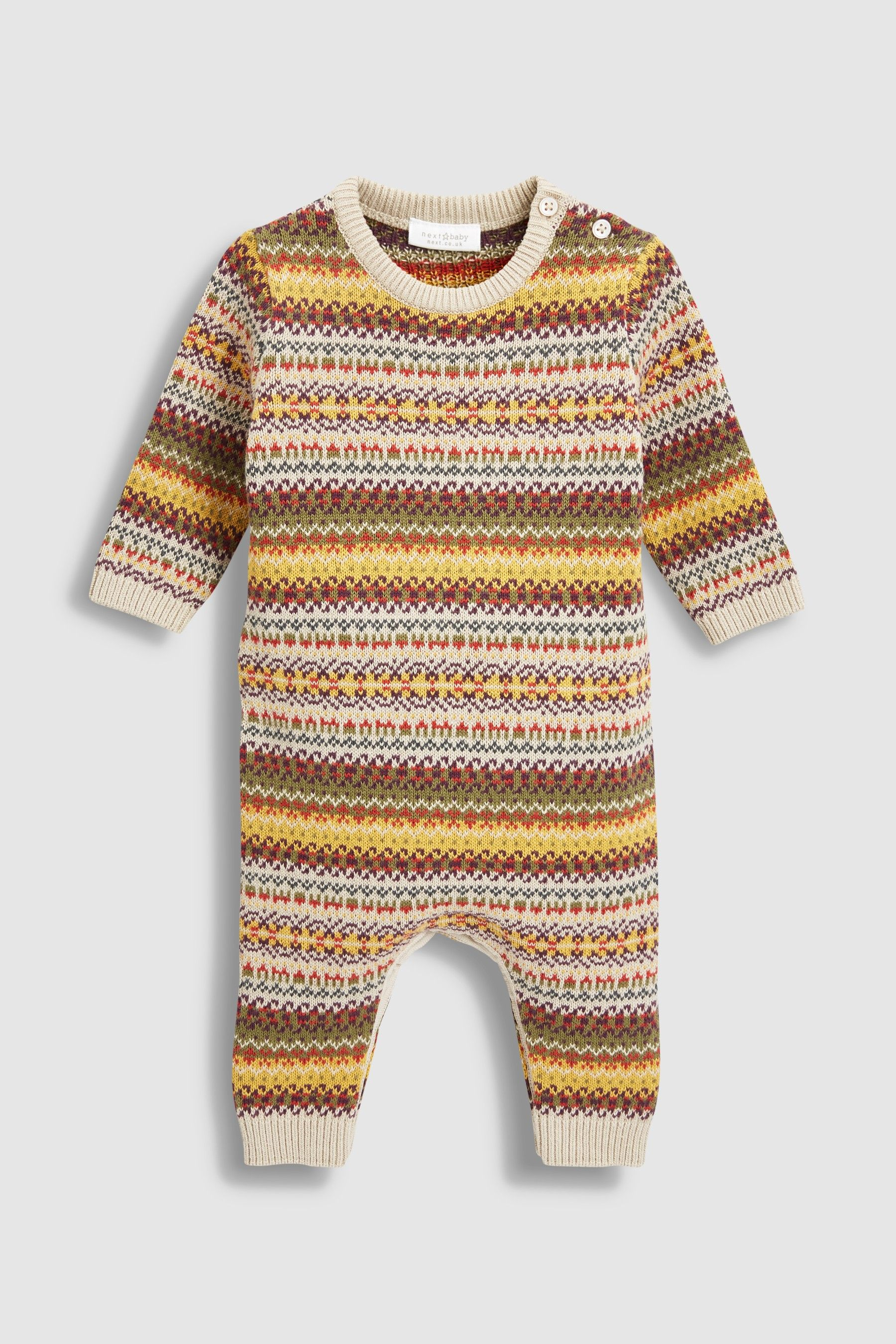 eb8dac2d1 Boys Next Multi Fairisle Pattern Knit Romper (0mths-2yrs) - Brown ...
