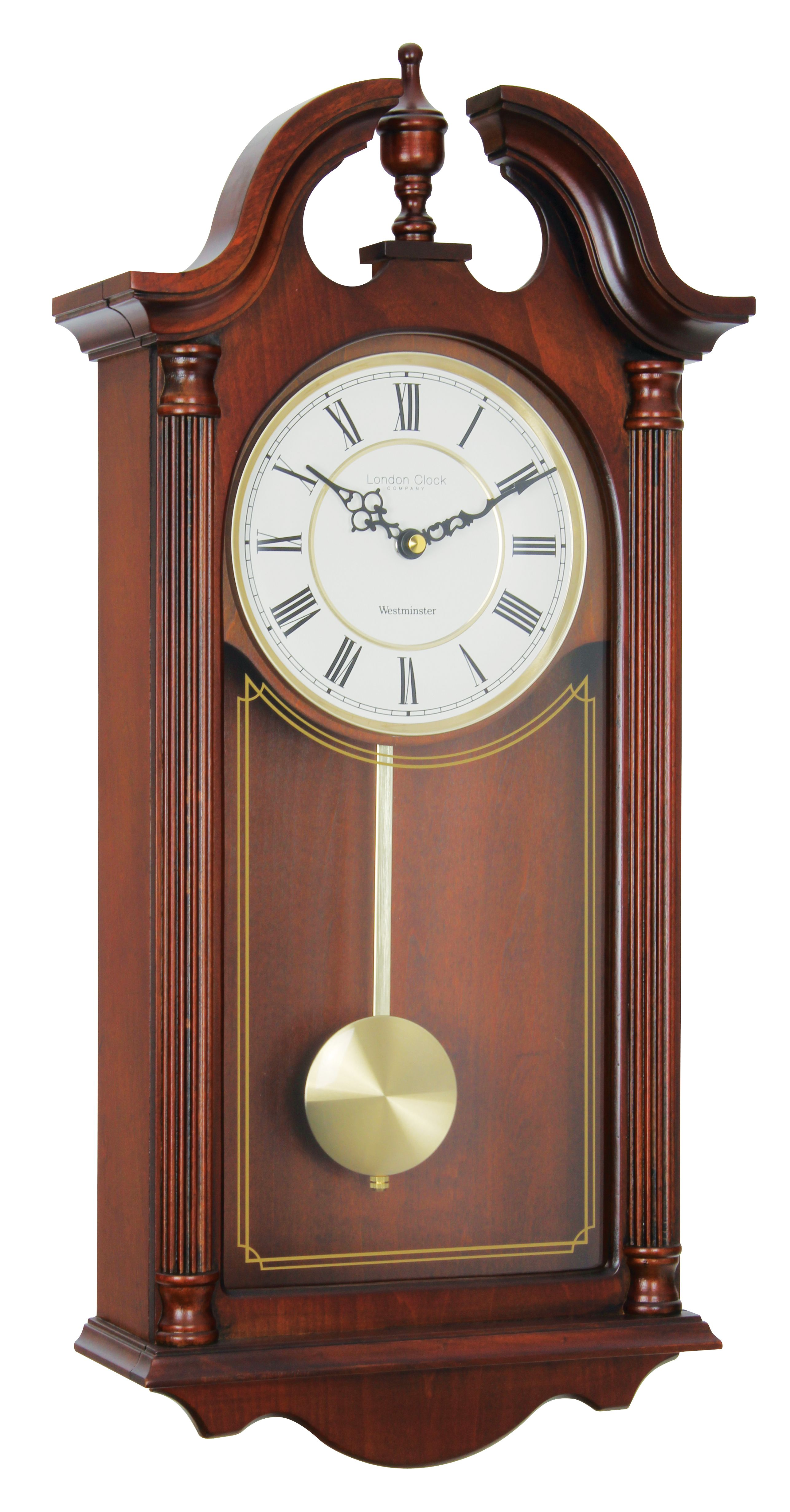 London clock company mahogany finish westminster chime pendulum clock kit pendulum battery quartz movement w 3 pairs of hands description amipublicfo Images