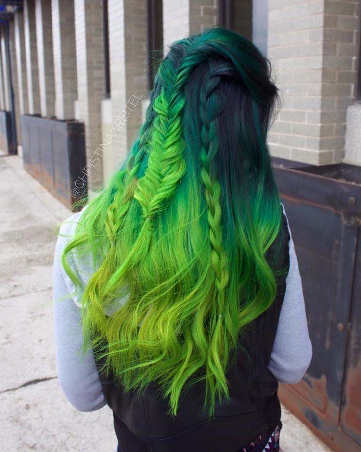All Pravana Green Black Additive Green Neon Green Neon Yellow Done By Tagrad Christinakreitel Green Hair Colors Hair Colour For Green Eyes Green Hair