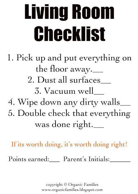 Living Room Checklist: