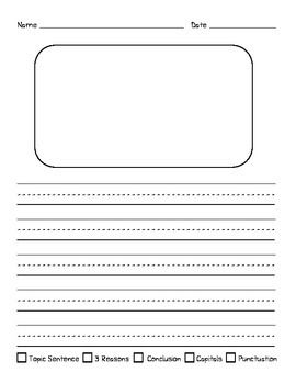 Here Is An Informative Writing Template That Includes A Simple Rubric For Topic Sentence Three Reasons Conclusion Capitals And Punctuation