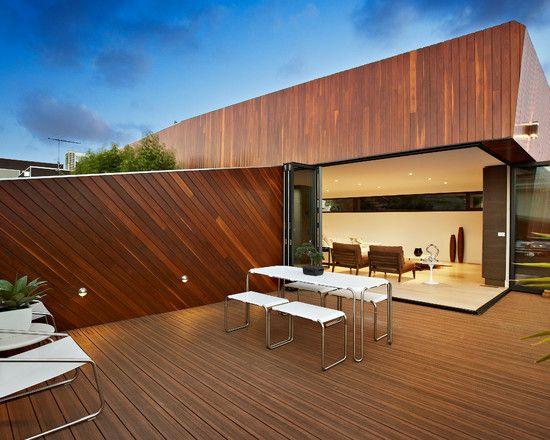 dachterrasse holz boden outdoor möbel wohnbereich falttüren - ideen terrasse outdoor mobeln