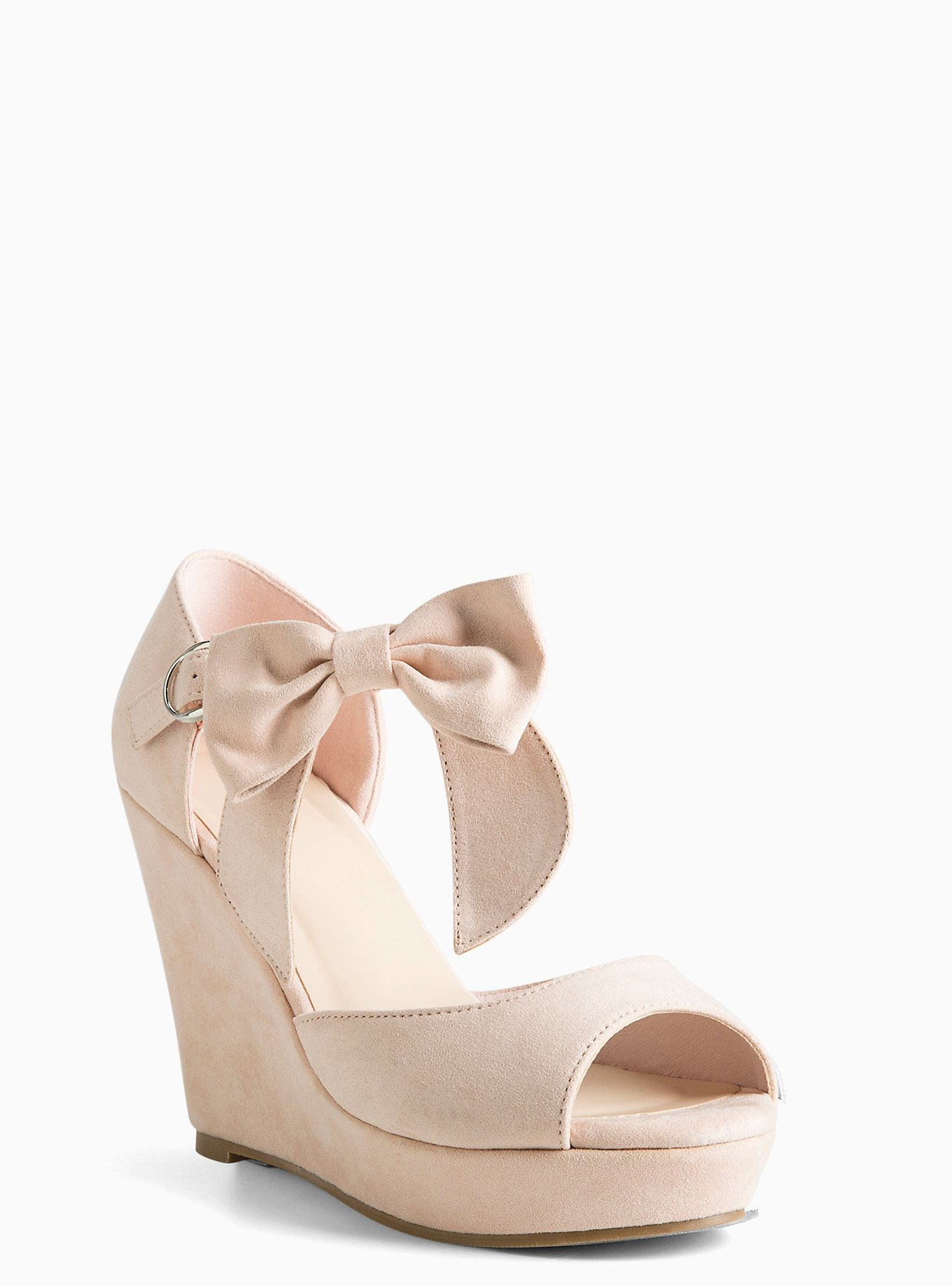 Ankle Bow Wedges Wide Width Blush Wedding Shoes Blush Wedges