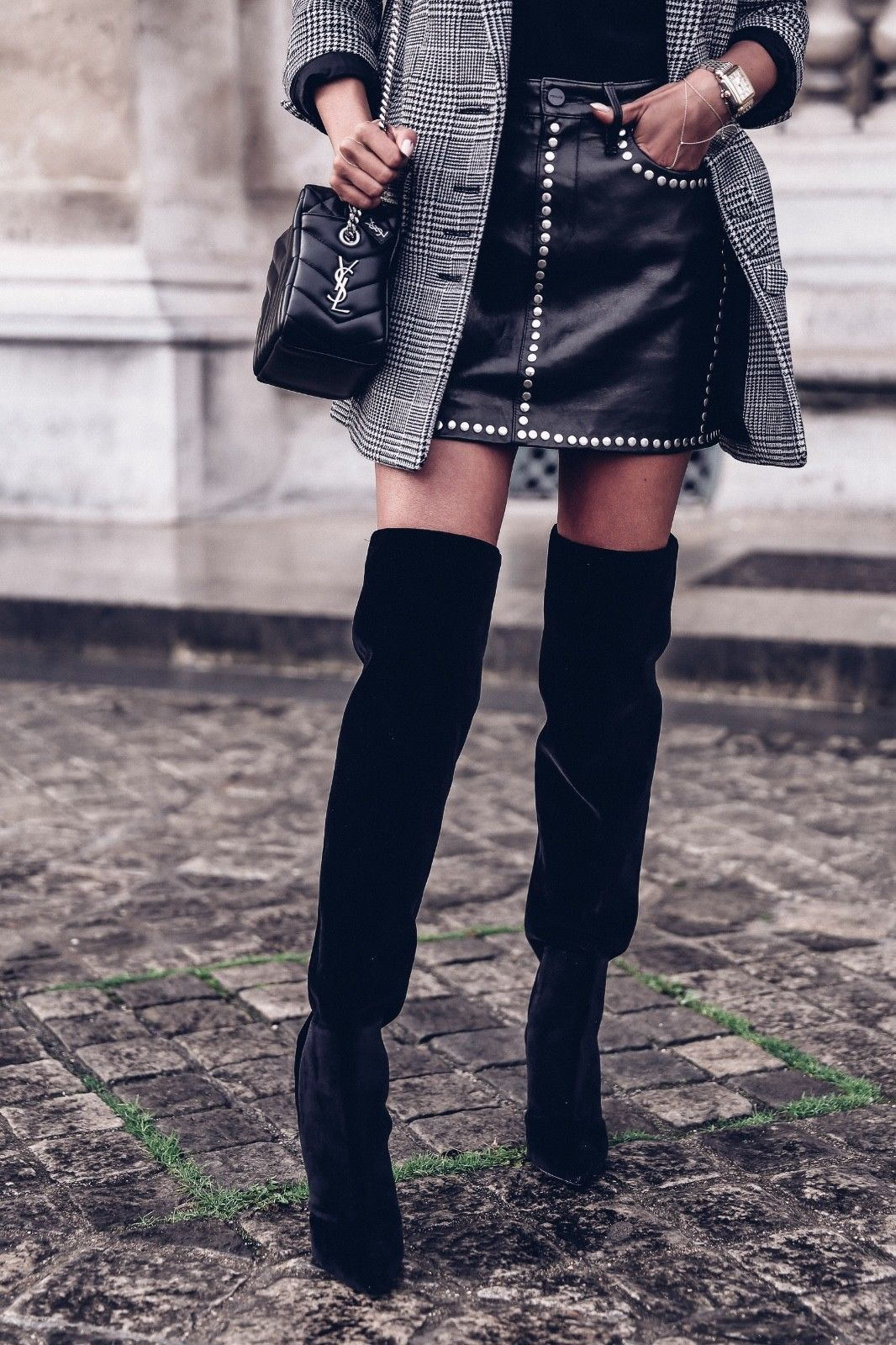711eb8d0df0 studded leather skirt with knee highs. YSL Saint Laurent Niki Black Velvet  Over the Knee Boots - RunwayCatalog.com