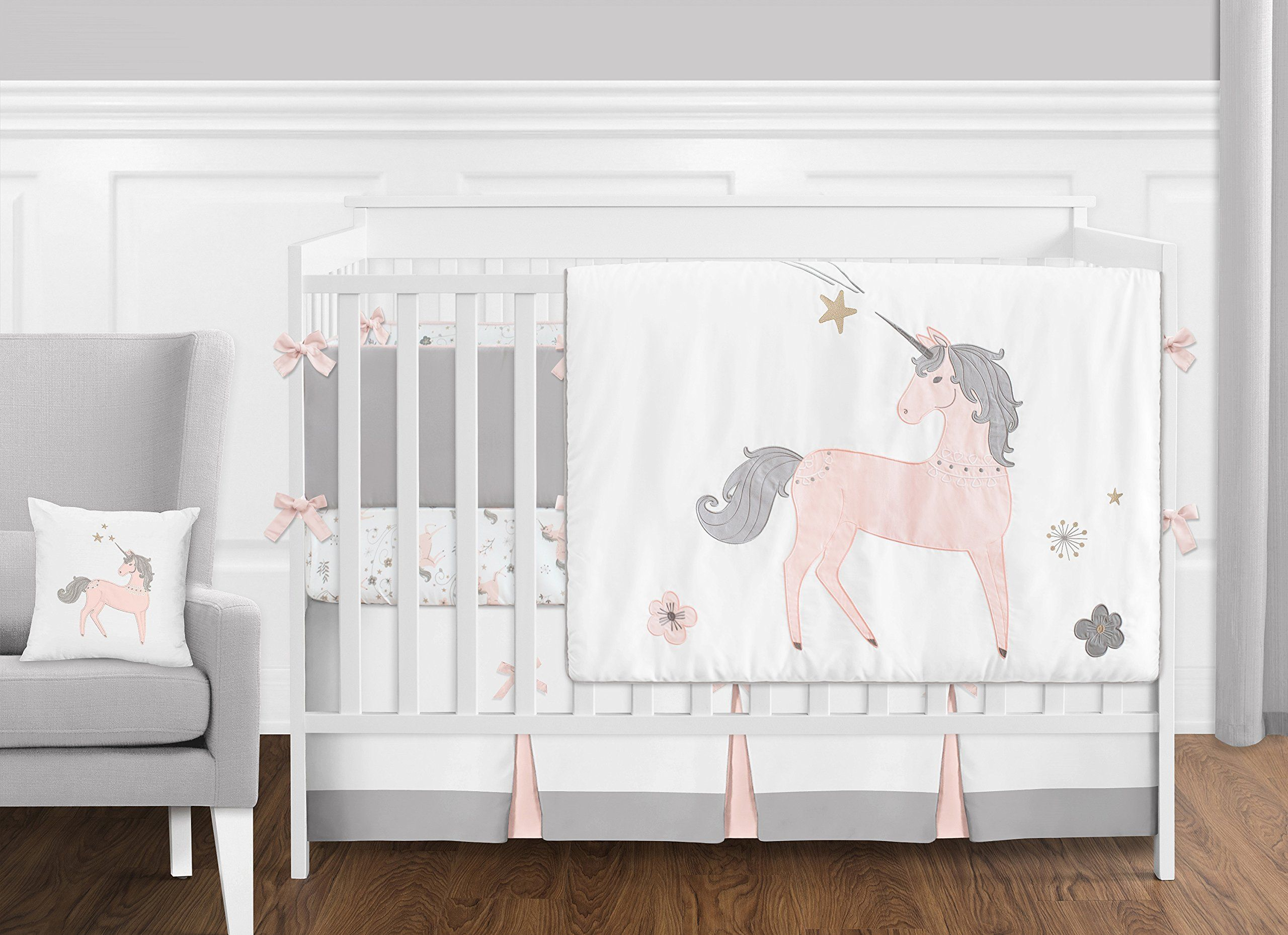 Pink Grey And Gold Unicorn Baby Girl Crib Bedding Set
