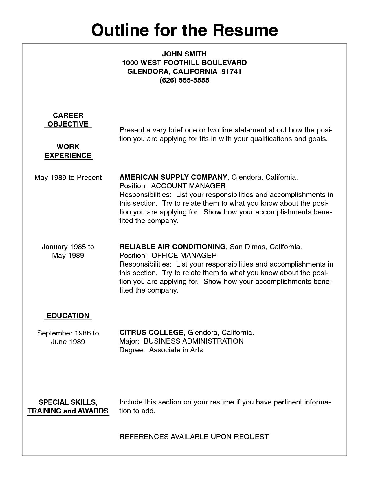 Resume Format Outline Resume outline, Resume layout, Job