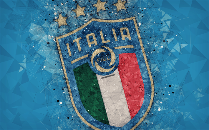 Download Wallpapers Italy National Football Team New Logo 4k Geometric Art Logo Blue Abstract Background Uefa New Emblem Italy Football Grunge Style Italy National Football Team National Football Teams Geometric Art