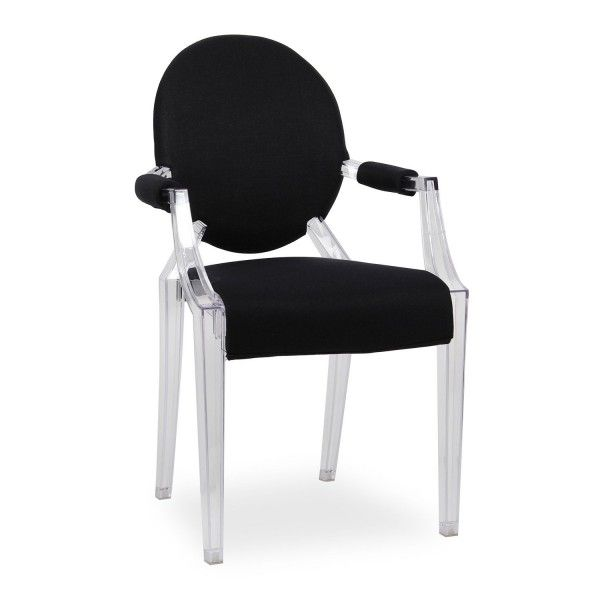 silla tapizada tela negra louis ghost colonial