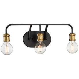 "Photo of Possini Euro Aras 20 ""W black-brass 3-light bathroom lamp – # 70F45 
