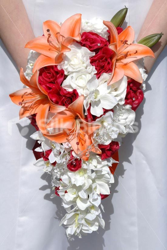 White orange burgundy rose lily orchid bridal bouquet silk shop white orange burgundy rose lily orchid bridal bouquet online from silk blooms mightylinksfo