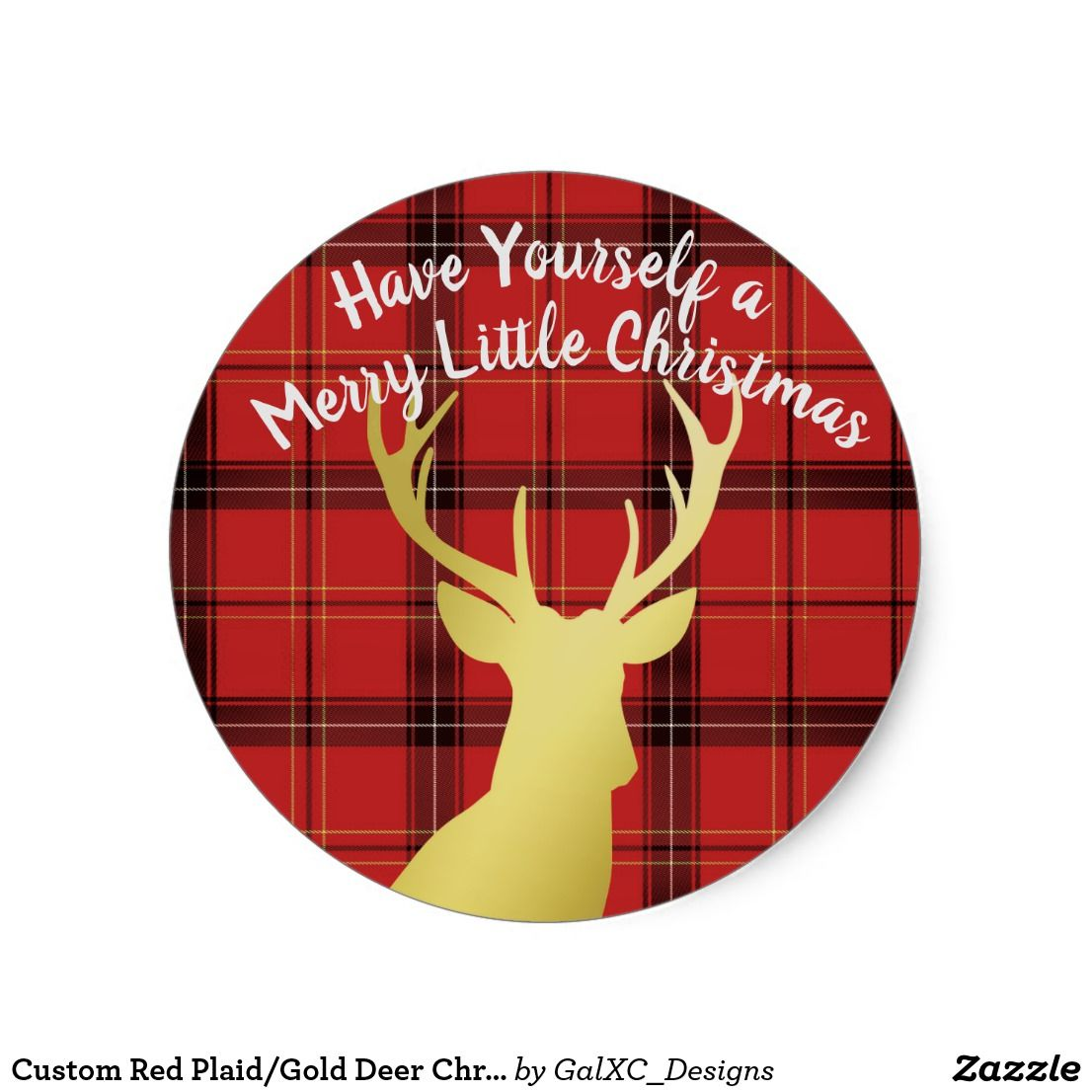 Custom red plaid gold deer christmas card stickers