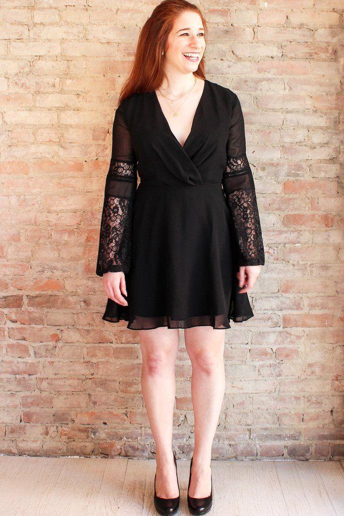 Jovie Black Lace Dress 70s Fashion Affordable Affordable