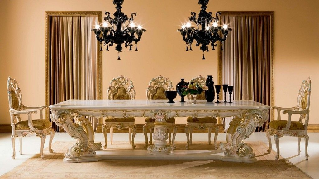 Fancy and luxury classic wood dining table dreamehome for Fancy dining room sets