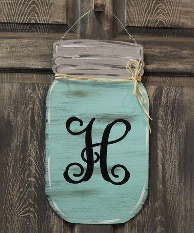 Look at this #zulilyfind! Seafoam Mason Jar Initial Door Hanger - healthcare door hanger