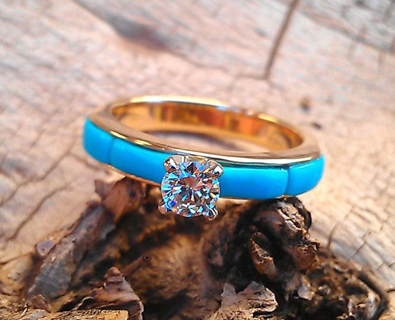 4-section Turquoise inlay Diamond Solitaire Engagement Ring - made to order on Etsy, $1,499.99