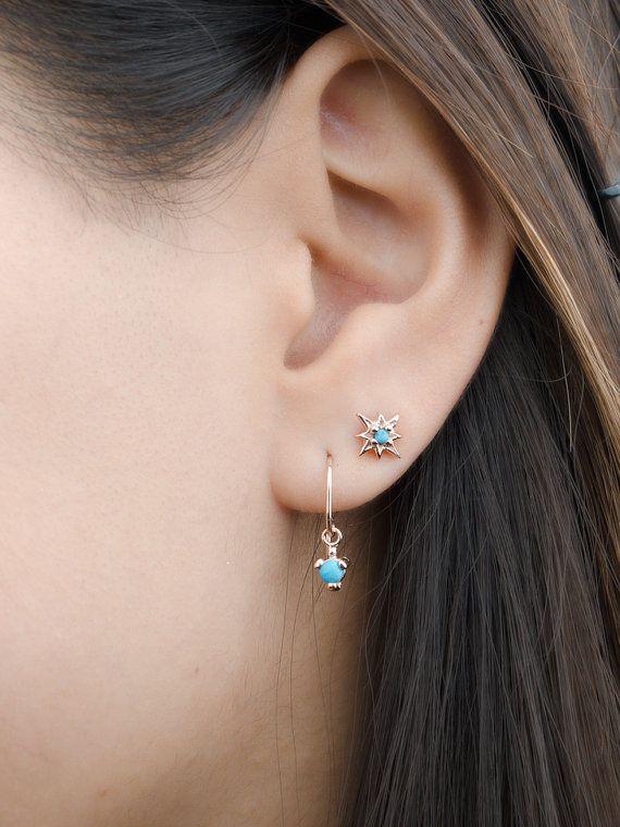 7455a1c95 Dainty Turquoise Drop Earrings, Sterling Silver & Gold Plated, Pendulum  Earrings, Minimalist Dangle Earrings, Gift mom, DGE001 TRQ