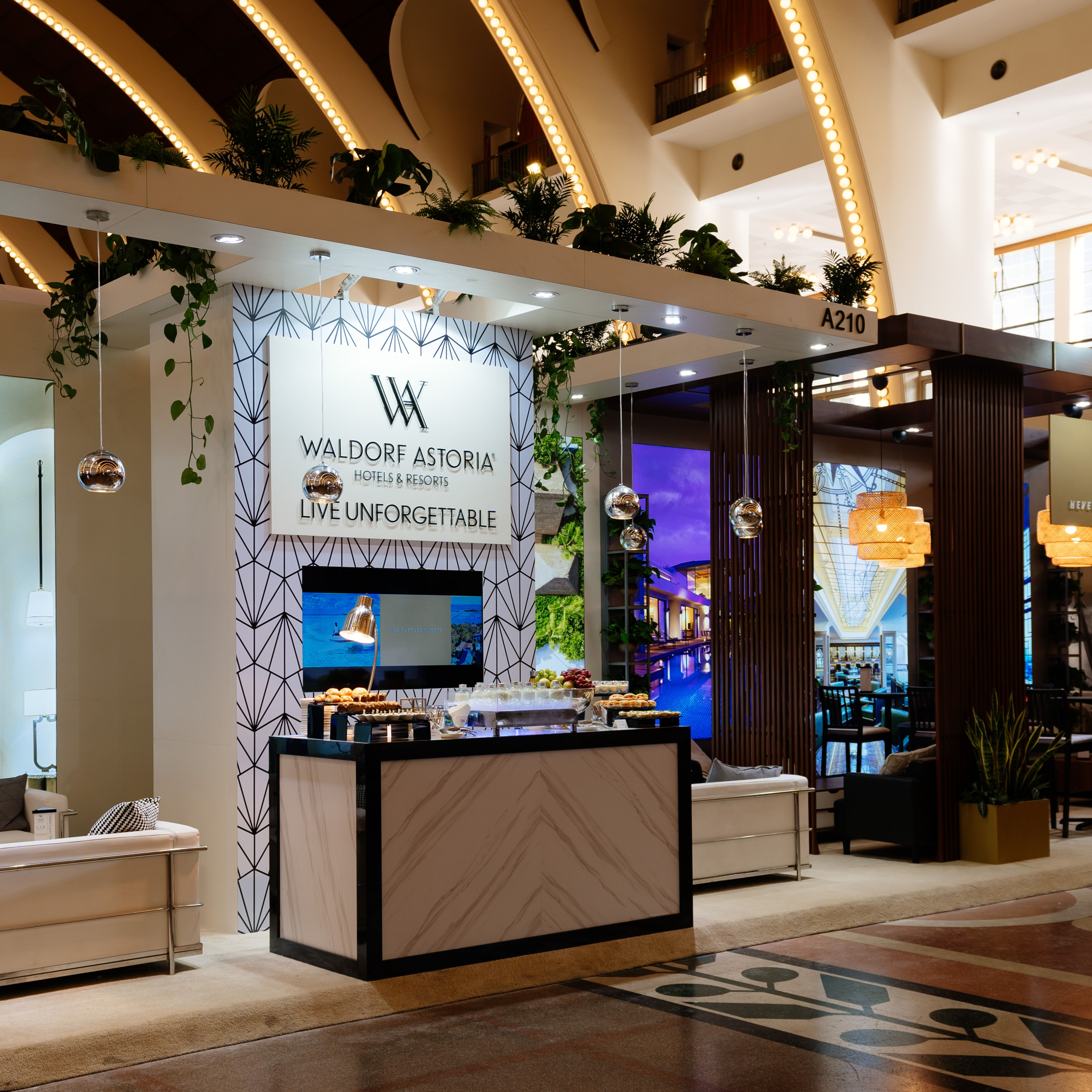 #Tbt to #Hilton at #ILTM in China, 2019. This luxurious stand was designed to promote two different brands, #WaldorfAstoria and #ConradHotels. The attention to detail in the materials and overall finish gave a high-end feel to the whole stand #eventprofs #standdesign #hiltonhotels