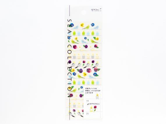 "Photo of Midori schedule mini stickers ""parakeet"", mini stickers, Japanese sticker for planner, scrapbooking,"