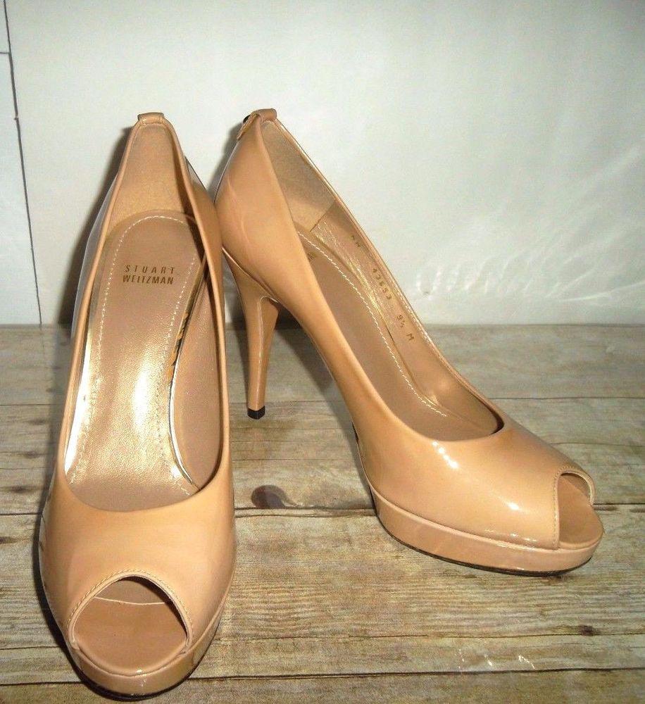 425d9b62870c Stuart Weitzman Nude Patent Leather Peep Toe Platform Stiletto Heels Size  9.5M  StuartWeitzman  Stilettos