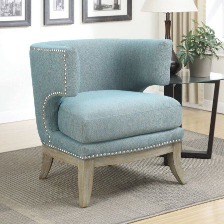 Accent Chair With Barrel Back Blue And Weathered Grey Walmart Com Accent Chairs Barrel Chair Contemporary Accent Chair