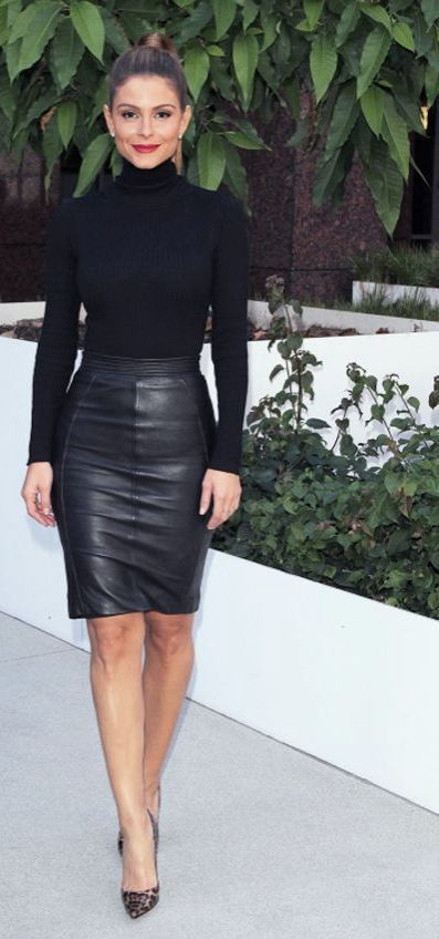 black leather pencil skirt with black fitted turtleneck