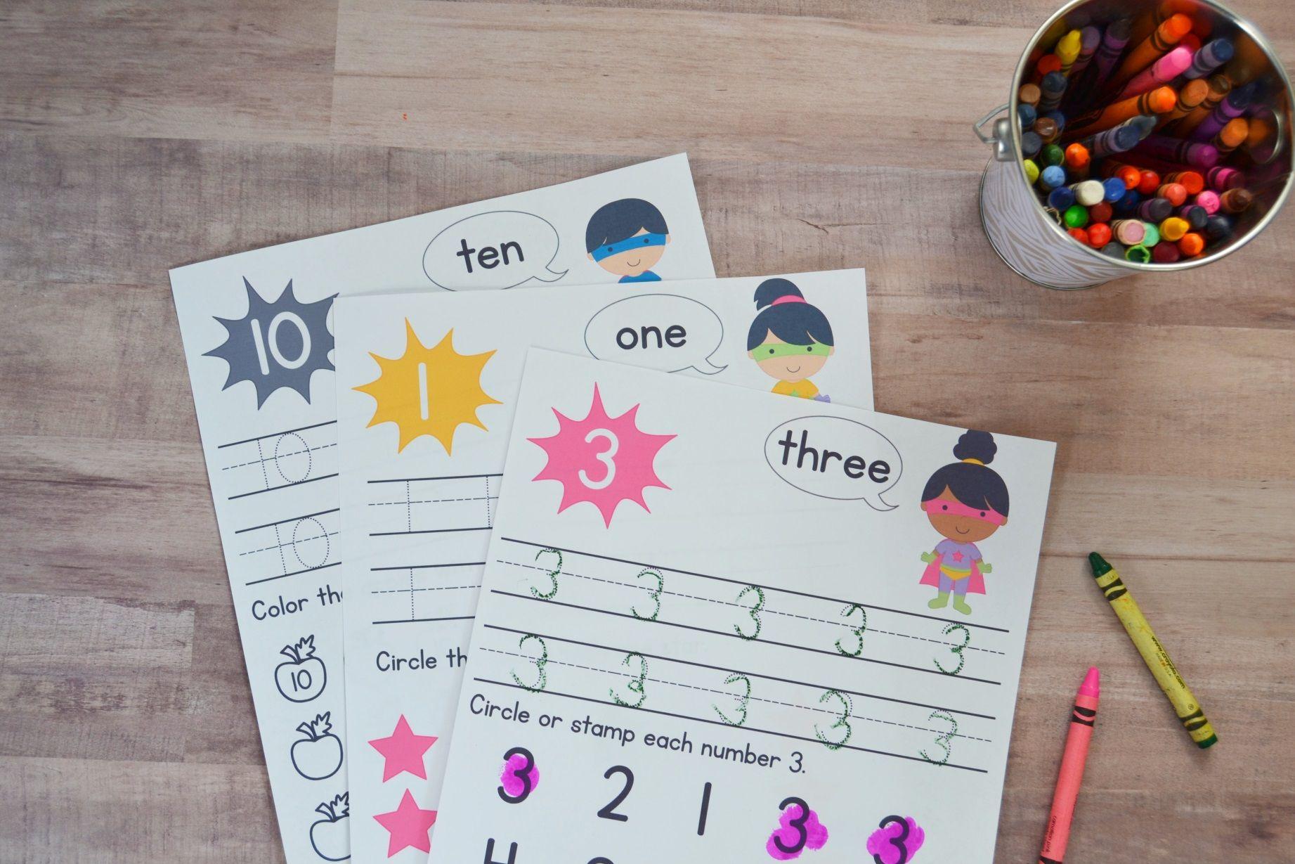 Super Hero Preschool Number Worksheets [Numbers 1-10] | Preschool ...