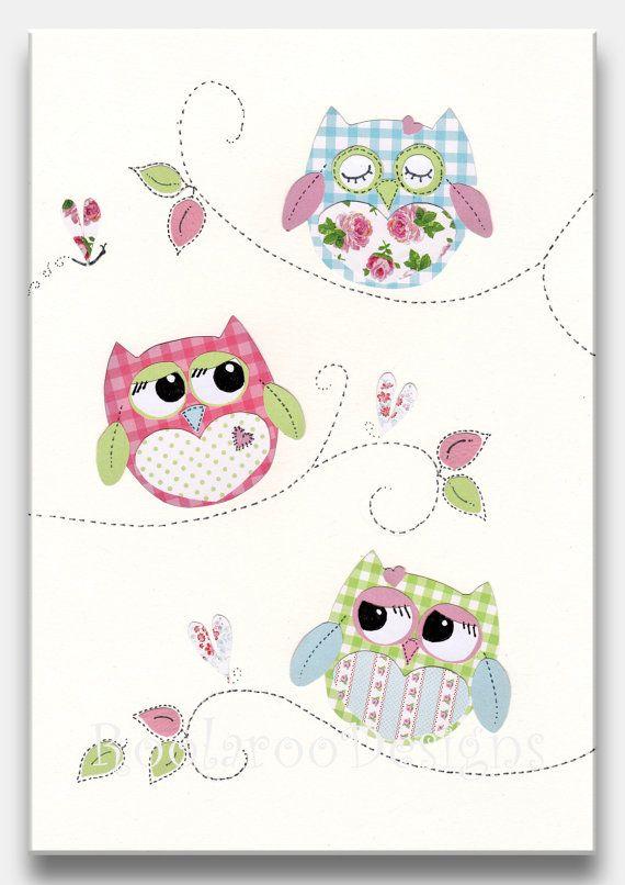 Nursery Art Print, Owl Decor, Baby Girl Nursery, Kids Wall ...