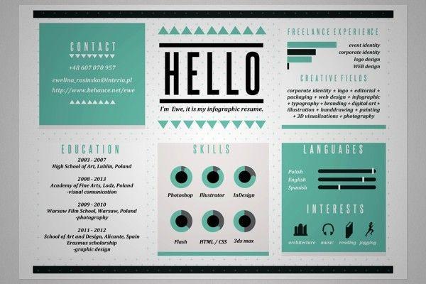 24 Smart Graphic Design Resumés CV Creativos Pinterest Graphic